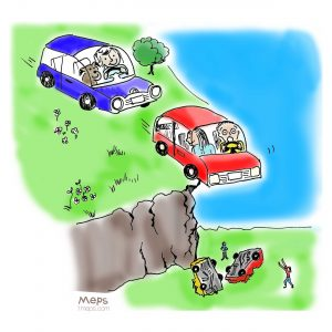 Cars driving off a cliff. ©2018 Margaret Schulte. All rights reserved.