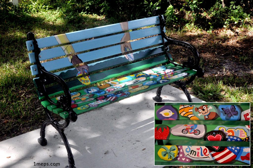 Dunedin Rocks bench with detail inset