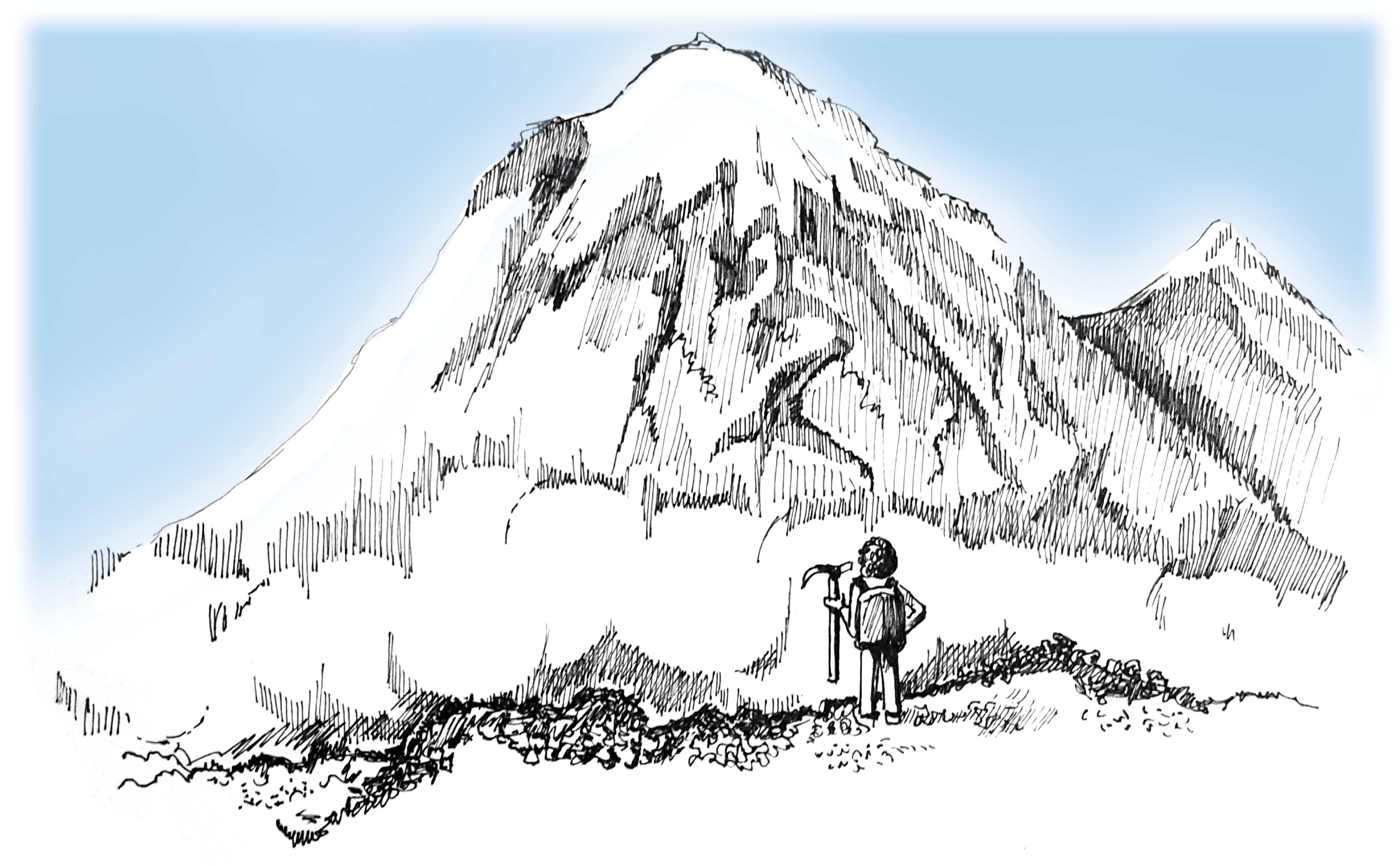 Mt. Rainier with climber