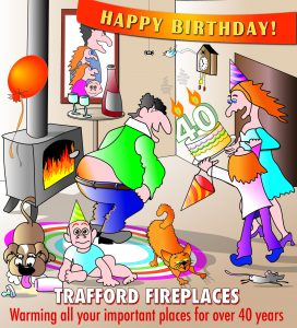 Cartoon of birthday party with chaotic family