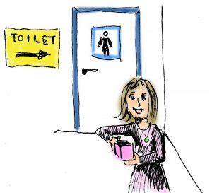 Cartoon of woman standing in front of bathroom